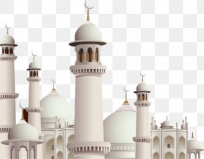 Islamic Architecture On Blue Background - Mosque Kaaba Eid Mubarak Eid Al-Fitr Ramadan PNG