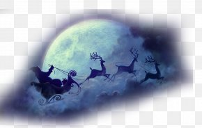 Christmas Christmas Moon Transparent Background Element Material - Santa Claus Reindeer Sled Christmas Wallpaper PNG