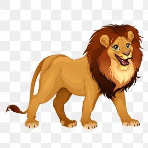 Vector Male Lion - Lion Tiger Cartoon Illustration PNG