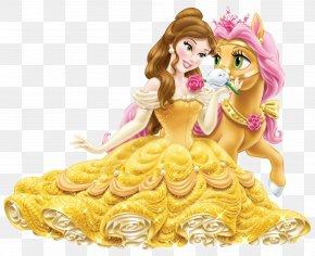 Disney Princess Belle With Cute Pony Transparent Clip Art Image - Belle Rapunzel Ariel Fa Mulan Princess Jasmine PNG