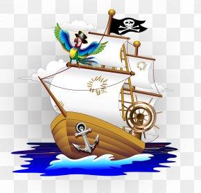 Cartoon Pirate Ship - Parrot Piracy Cartoon Illustration PNG