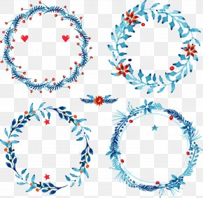 Hand-painted Watercolor Christmas Wreath - Christmas Download PNG
