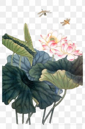 Dragonfly Pond Lotus Painting - Ink Wash Painting Drawing Painter PNG