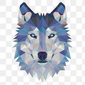 Geometric Wolf Avatar - Gray Wolf Sticker Wall Decal Modern Art PNG