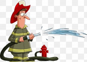 Cartoon Fireman Water - Firefighter Fire Hose Royalty-free PNG