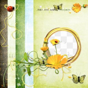 Flowers And Butterflies Ladybug Picture Frame - Butterfly Picture Frame Drawing PNG