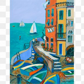 Painting - Montville Art Gallery Riomaggiore Oil Painting Rotary Art Spectacular PNG