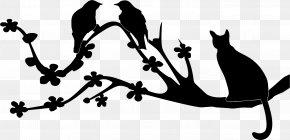 Birds Silhouette - Bird Cat Silhouette Branch Clip Art PNG