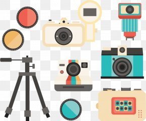 Flat Vintage Photography Collection Device - Photography Tripod Camera Euclidean Vector PNG