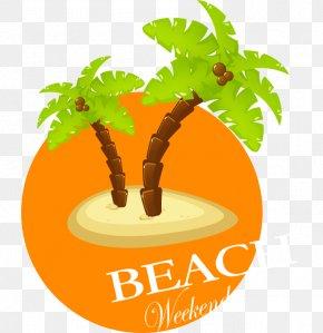 Vector Cartoon Vacation Coconut Tree - Ice Cream Coconut Tree Clip Art PNG