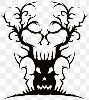 Spooky Banner Cliparts - Spooky Tree Drawing Clip Art PNG
