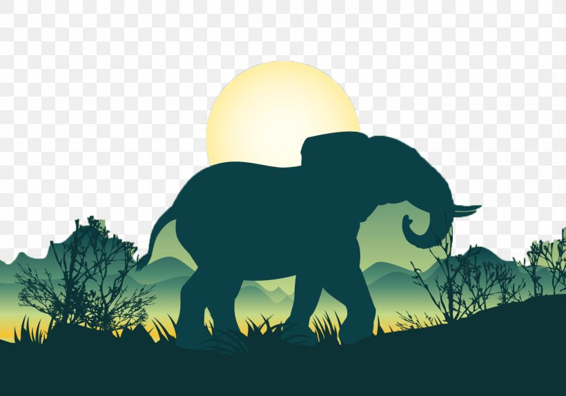 African Elephant Bear Silhouette Illustration, PNG ...