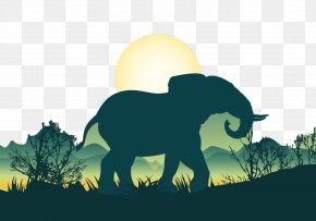 Sunset Elephants - African Elephant Bear Silhouette Illustration PNG