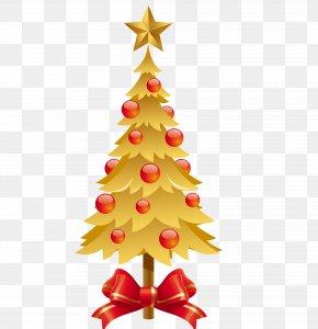 Golden Christmas - Christmas Tree New Year Santa Claus PNG