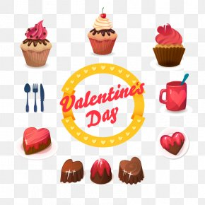 Vector Cartoon Cake And Chocolate - Cupcake Muffin Birthday Cake Dessert PNG