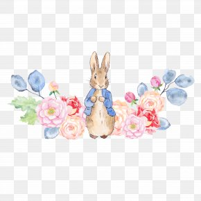 Rabbit And Flowers - The Tale Of Peter Rabbit Clip Art PNG