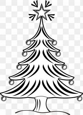 Christmas Tree Line Art - Christmas Tree Drawing Black And White Clip Art PNG