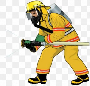 Firefighters In Yellow - Firefighter Fire Engine Free Content Clip Art PNG