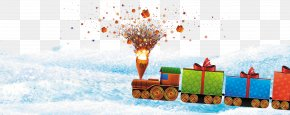Fireworks Christmas Train Pattern - Christmas Tree Gift Clip Art PNG