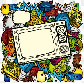 Hand-painted Color TV Multimedia Elements - Television Show Drawing Illustration PNG