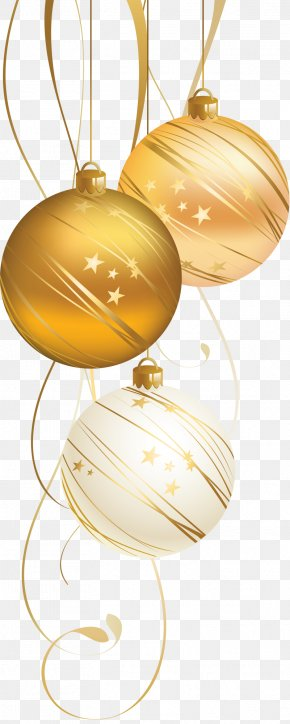 Golden Christmas Ball - Christmas Ornament Christmas Decoration New Year Christmas Card PNG