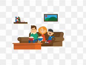 Vector Color Watching TV Family - Family Television Set PNG