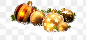 Christmas Balls And Snow Clipart Image - Christmas Ornament Clip Art PNG