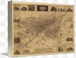 Bird's-eye View - Denver Gallery Wrap Canvas Map Art PNG