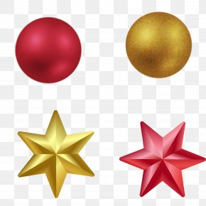 Golden Red Stars And Lob - Christmas Hexagram Symbol PNG