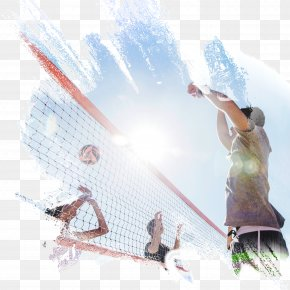 Vibrant Young Man Playing Beach Volleyball - Beach Volleyball Volleyball Net Sport PNG
