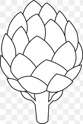Black And White Flower Outline - Artichoke Drawing Vegetable Clip Art PNG