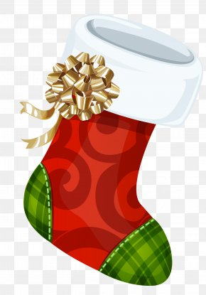 Christmas Stocking With Gold Bow Picture - Christmas Stocking Clip Art PNG