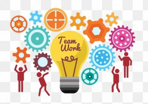 Start The Team To Work Together Light Bulb Ideas - Teamwork PNG
