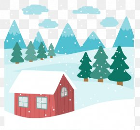 Winter Huts - Landscape Euclidean Vector Snow House PNG