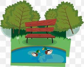Park Pond Scenery Vector Material - Park Landscape Pond PNG