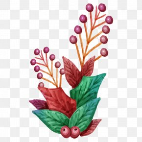 Floral Christmas - Watercolor Painting Christmas Day Image Graphics Design PNG