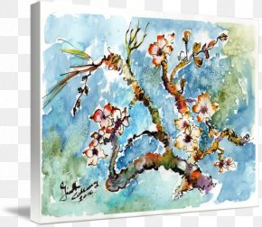 Painting - Watercolor Painting Almond Blossoms Art Oil Painting PNG