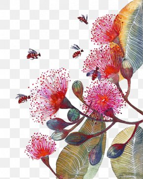 Hand-painted Flowers Bee - Flower Paper Bee Watercolor Painting Corymbia Ficifolia PNG