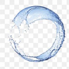 Round Splash Blue Water Flower PNG