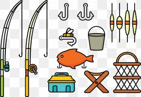 Vector Barbed Hooks Fishing Line Fishing Rod - Recreation Fishing Rod Fishing Tackle Clip Art PNG