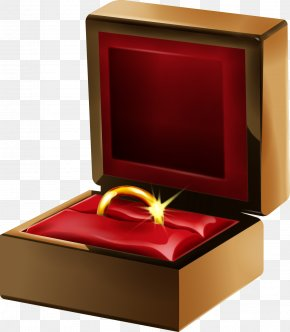Vector Gift Box With Ring - Engagement Ring Euclidean Vector PNG
