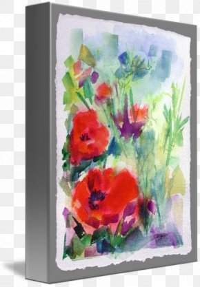 Watercolor Painting Art - Floral Design Watercolor Painting Poppy Art PNG