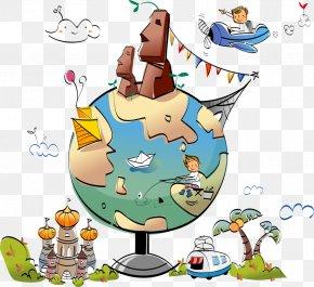 Vector Cartoon Boy On A Globe - Globe World Location Clip Art PNG