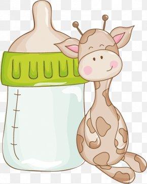 Giraffe Cartoon Vector Material Hand-painted Bottle - Giraffe Baby Shower Infant Clip Art PNG