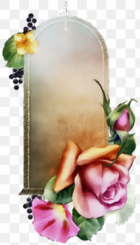 Rose Family Picture Frame - Watercolor Background Frame PNG