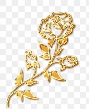 Gold Free To Pull Roses Valentine's Day Decoration Pattern - Beach Rose Gold Party PNG
