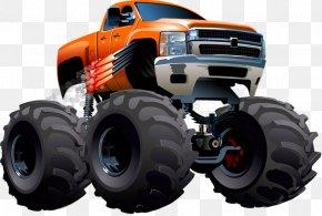 Car Tire On - Pickup Truck Cartoon Monster Truck PNG