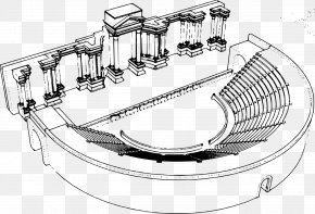 Theater Curtain - Drawing Roman Theatre At Palmyra Theater PNG