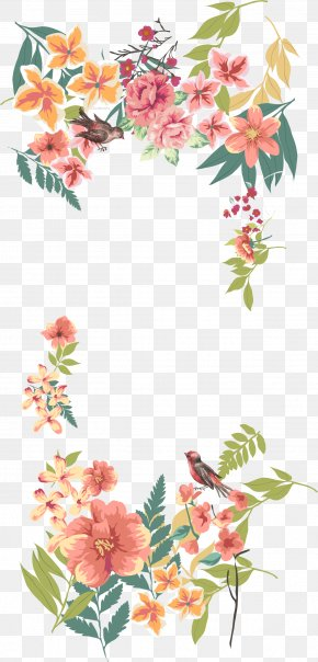 Vector Hand Painted Flower Borders - Flower Euclidean Vector Floral Design PNG