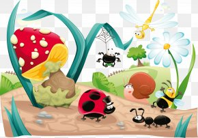 Vector Cartoon Illustration Of Forest Insect - Insect Bee Cartoon Illustration PNG